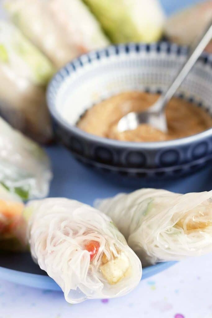 summer rolls with peanut dipping sauce
