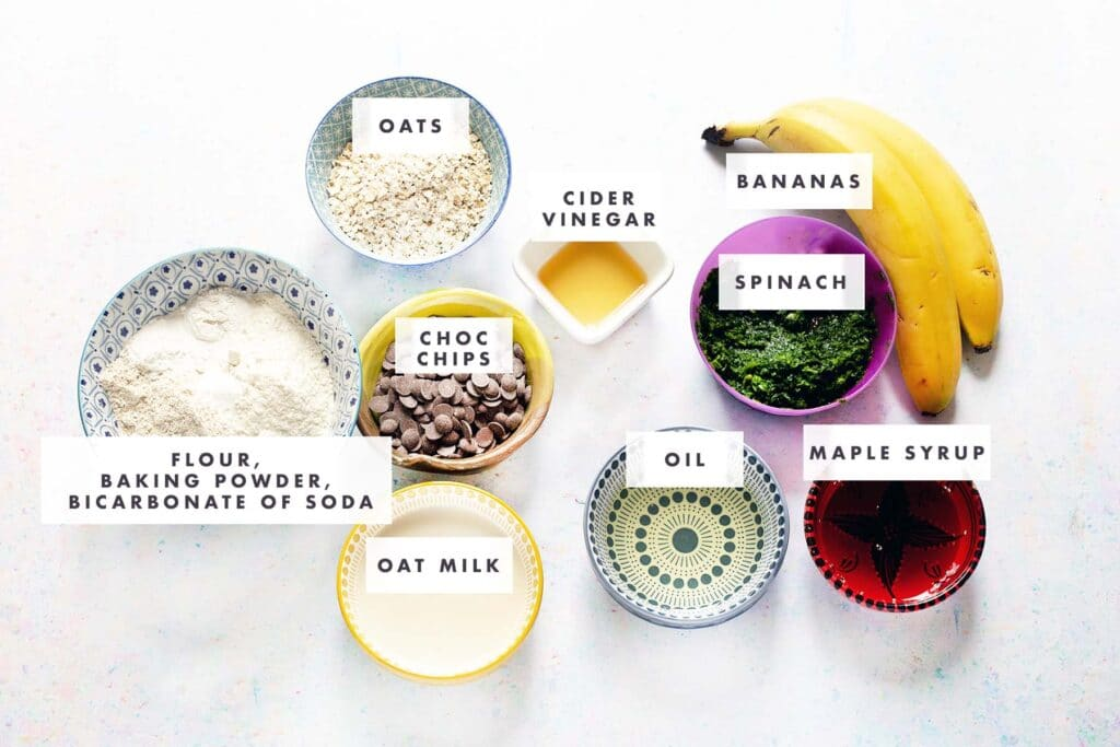 ingredients for spinach muffins