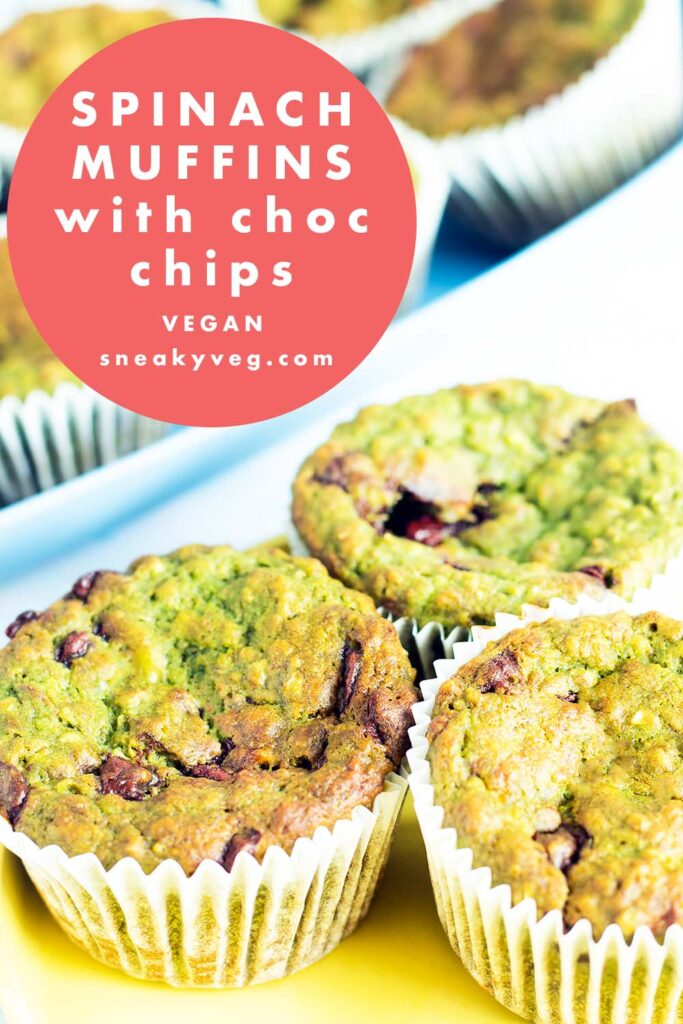 spinach and banana muffins on yellow plate and blue tray